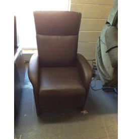 Small recliner / brown leather..