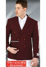Lorenzo Bruno Lorenzo Bruno Burgundy/White Double Breast Blazer SZ601