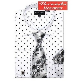 C. Allen C. Allen Polka Dot Shirt Set - White with Black Dot JM205