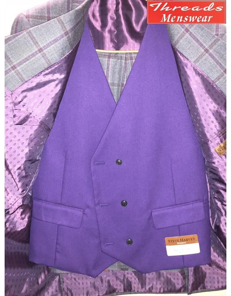 Steve Harvey Steve Harvey Vested Suit - Gray/Lavendar (Purple Vest)