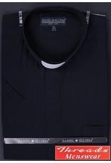 Daniel Ellissa Short Sleeve Tab Collar Clergy Shirt - Black