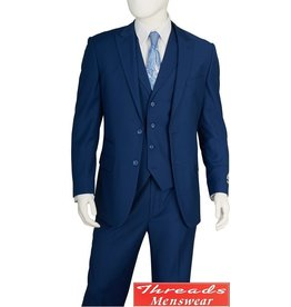 Lorenzo Bruno Lorenzo Bruno Vested Suit F62SB Blue