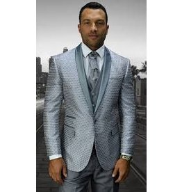 Statement Statement Bellagio-8 Suit, Vest & Bow Tie - Silver Gray