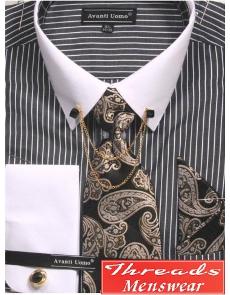 Avanti Uomo Avanti Uomo Chain Shirt Set - DN77M Black