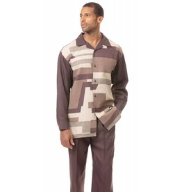 Montique Montique Long Sleeve Pantset - 1821 Brown