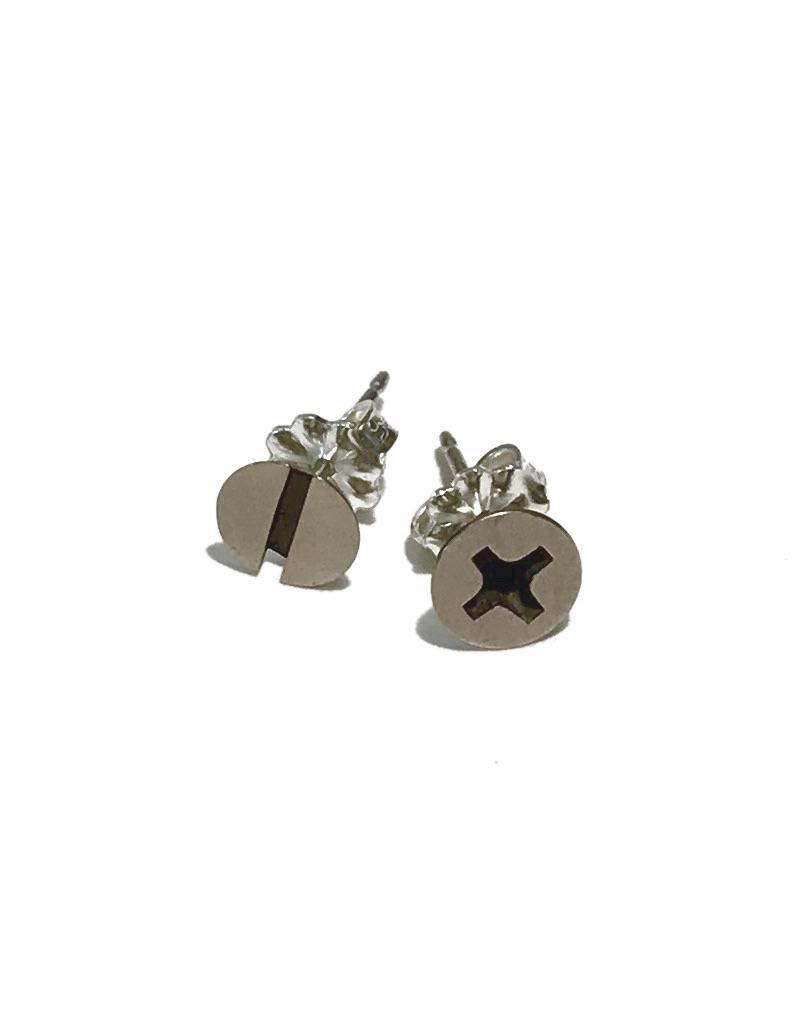 Sterling Silver Screw Earrings Brass
