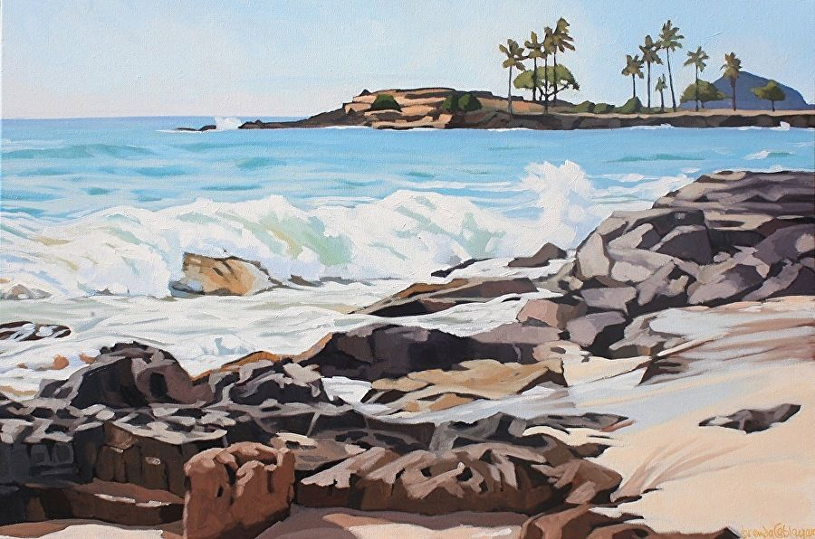 """Brenda Cablayan LATE AFTERNOON ON THE WAIANAE COAST, 24""""X36"""" ORIGINAL ACRYLIC PAINTING"""