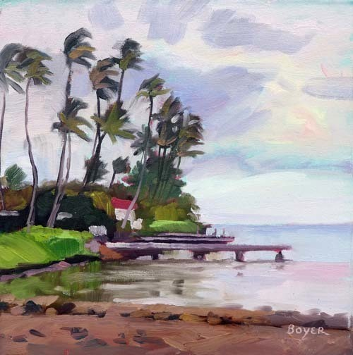 "WAILUPE PIERS & PALMS, 12""X12"" ORIGINAL OIL PAINTING W/OMEGA FRAME"