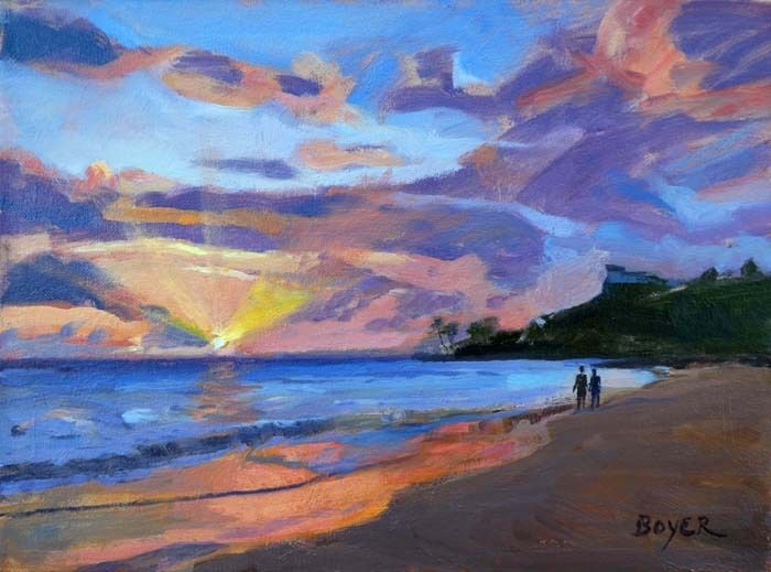 "Lynne Boyer KAILUA SUNRISE STROLL, 9""X12"" ORIGINAL OIL ON CANVAS W/OMEGA FRAME"