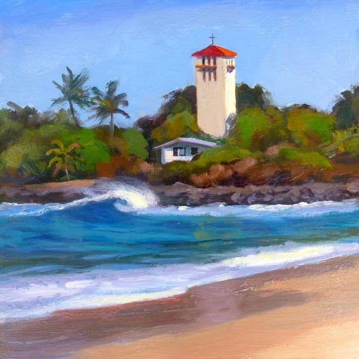 """Lynne Boyer WAIMEA BAY TOWER, 8""""X8"""" ORIGINAL OIL CANVAS WRAP"""