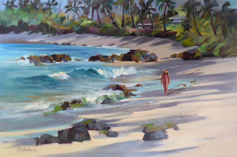 Susie Anderson BEACHCOMBERS, ORIGINAL OIL GALLERY WRAP, 24X36