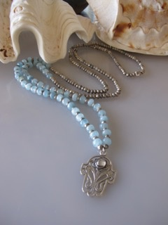 "MiNei Designs #2046   34"" Pyrite and Aquamarine Beads with Sterling Silver Hamsa Pendant with Moonstone"