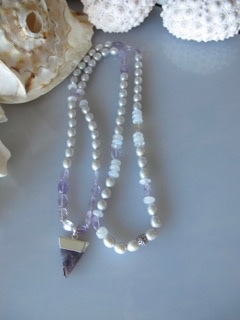 "MiNei Designs #2047   34"" Grey Freshwater Pearls, Moonstone, Amethyst with Amethyst Pendant"