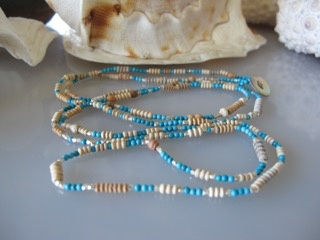 """MiNei Designs #2050   40"""" Turquoise, Sterling Silver and Wood Beads Necklace/Wrap Bracelet"""