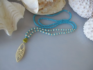 """MiNei Designs #2052    34""""  Turquoise and Bone Beads with Carved Bone Pendant and Artisan Ceramic Anchor"""