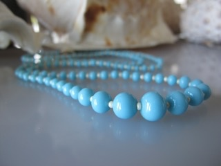 "MiNei Designs #2054    24"" Vintage Powder Blue Glass and Seed Pearl Beads"