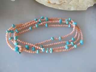 "MiNei Designs #2055   38"" Pink Coral and Turquoise Chunk Necklace/Wrap Bracelet"