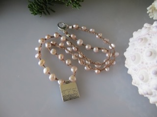 "MiNei Designs NECKLACE: #2019    16"" Pink Freshwater Pearls with Sterling 3 Bird Artisan Pendant"
