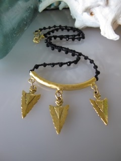 MiNei Designs #1994  $199  Faceted Black Agate Beads with Gold Vermeil Curved Tube Bail with 3 Arrowheads (Game of Thrones Inspired!!)