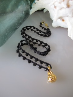 "MiNei Designs #1995- 22""  Faceted Black Agate Beads with Gold Plated Pineapple"