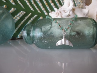 """MiNei Designs #1997 - 18""""  Sea Green Glass Beads with Artisan Silver Whale Tail"""