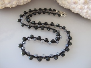 """MiNei Designs Necklace #1927: 18"""" Labradorite, Vintage Faceted Glass Crystal"""