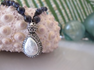 """MiNei Designs 20"""" Smoky Topaz Beads with Coin Pearl and Pave Swarovski Crystal Pendant"""