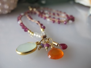 MiNei Designs Necklace: Garnet and Glass Beads with Gemstone Charms