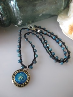 MiNei Designs Necklace: Apatite Beads with St. Christopher
