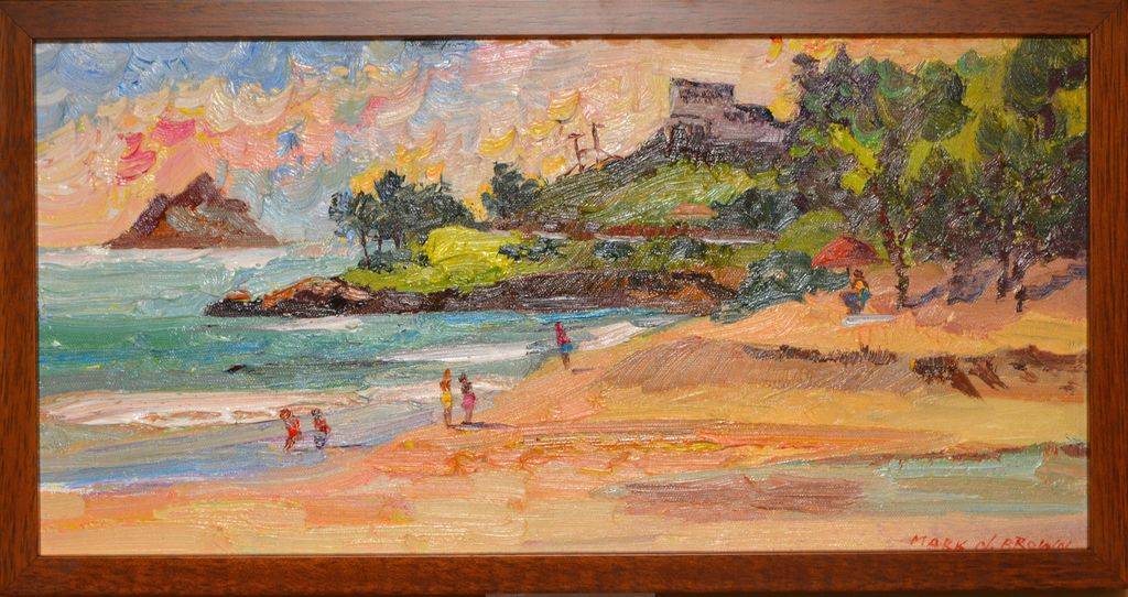 "Mark Brown ORIGINAL OIL PAINTING: 10X20 ""LOOKING TOWARDS LANIKAI"""