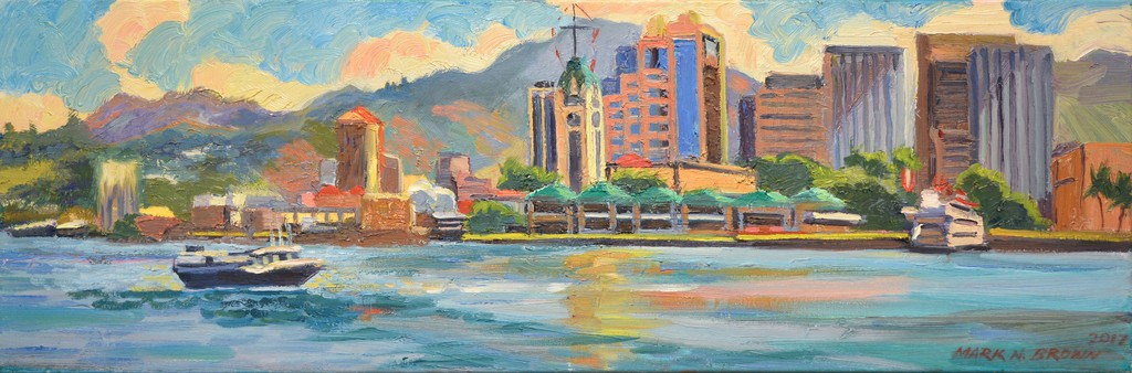 "Mark Brown ORIGINAL OIL PAINTING: 12X36: ""ALOHA TOWER"""
