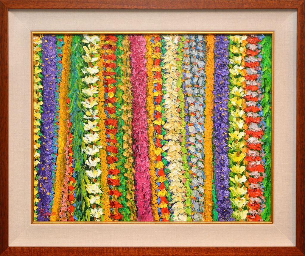 Ed Furuike MAY DAY IS LEI DAY IN HAWAII, 16X20 ORIGINAL PALETTE KNIFE OIL PAINTING