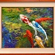 Ed Furuike BLUE KOI, 16X20 ORIGINAL PALETTE KNIFE OIL PAINTING
