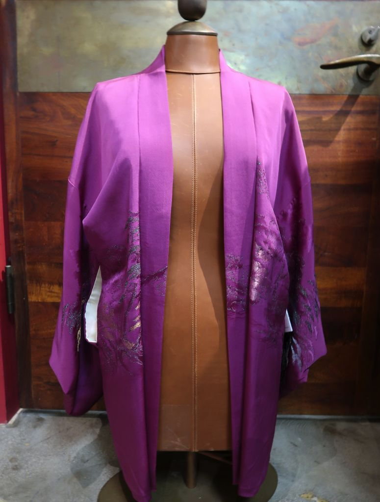 Elizabeth Kent purple metallic jacket