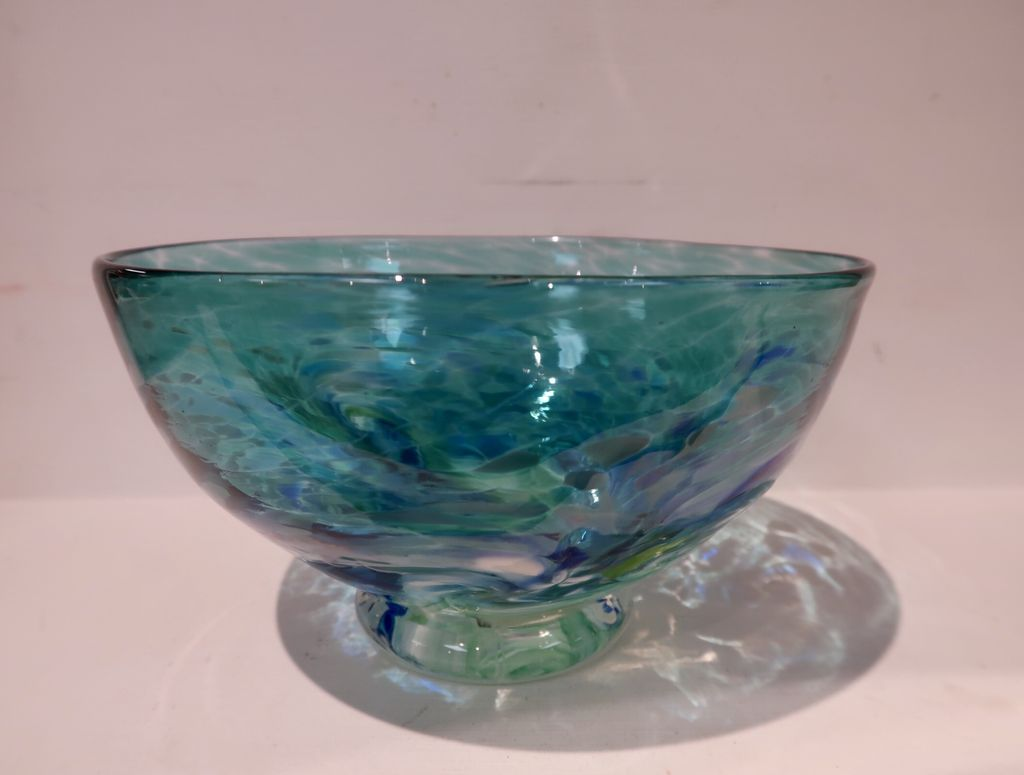 "Emily's Art Glass SURFS UP BOWL, APPROX. 4.25""X7.5"""
