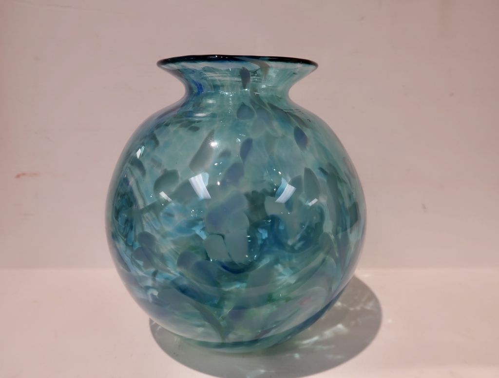 "Emily's Art Glass ROUND VASE: SURF'S UP, APPROX. 7""X6.25"""