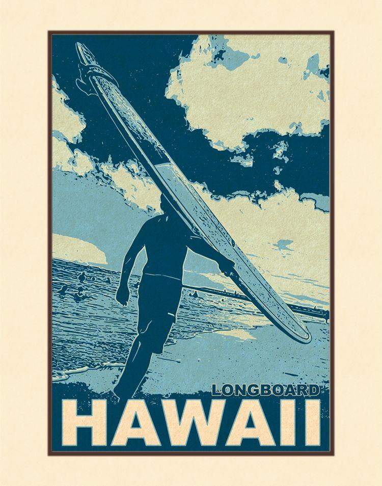 Aloha Posters HAWAII LONGBOARD  8X10 MATTED PRINT