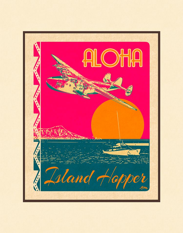Aloha Posters ISLAND HOPPER  8X10 MATTED PRINT