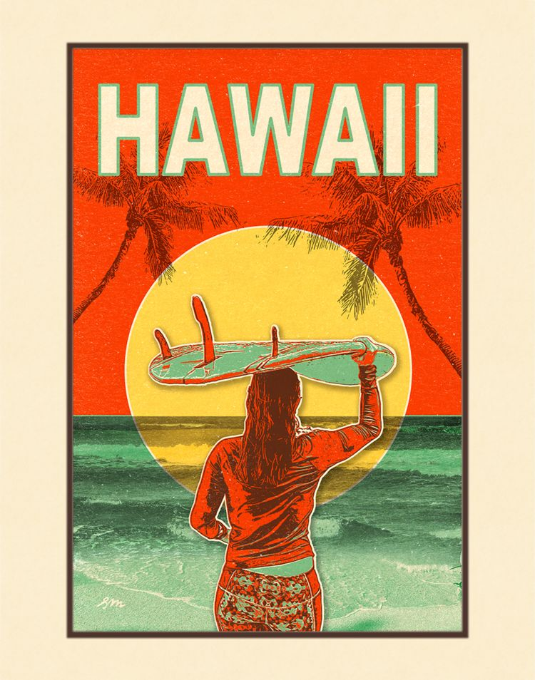 Aloha Posters SUNSET SURF  8X10 MATTED PRINT