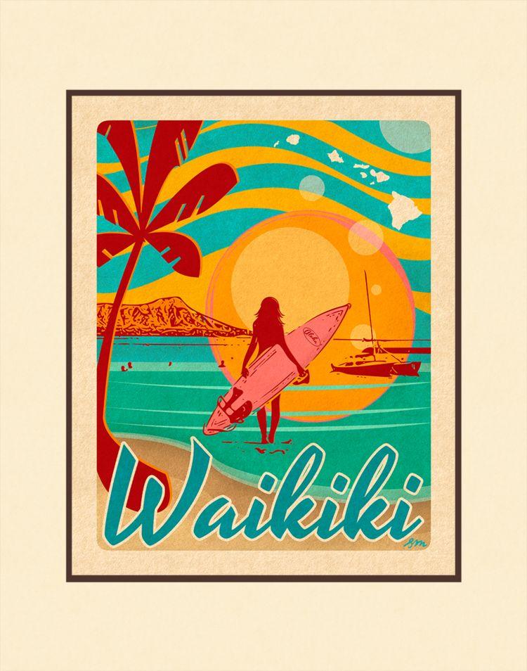 Aloha Posters WAIKIKI 8X10 MATTED PRINT