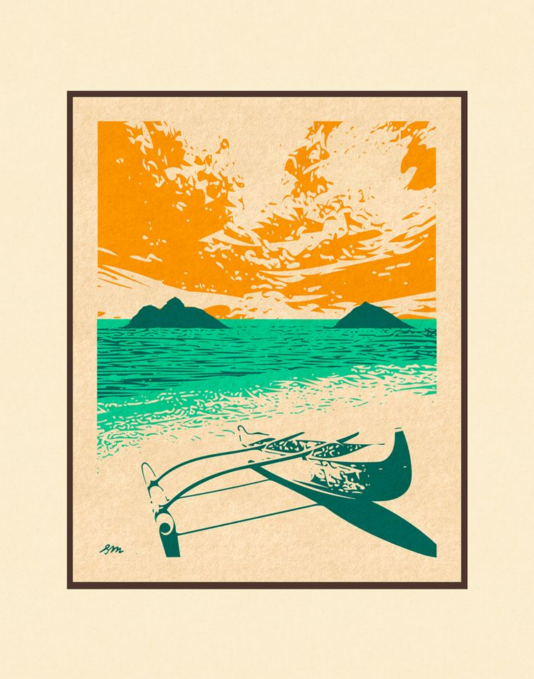 Aloha Posters LANIKAI CANOE 11X14 MATTED PRINT