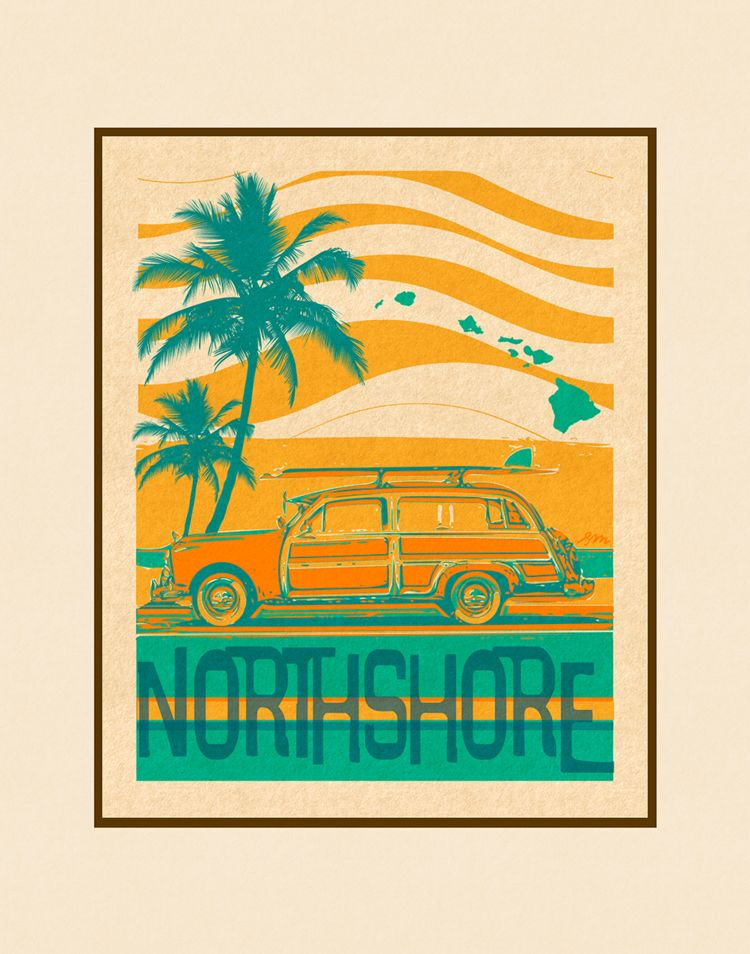 Aloha Posters NORTH SHORE 11X14 MATTED PRINT