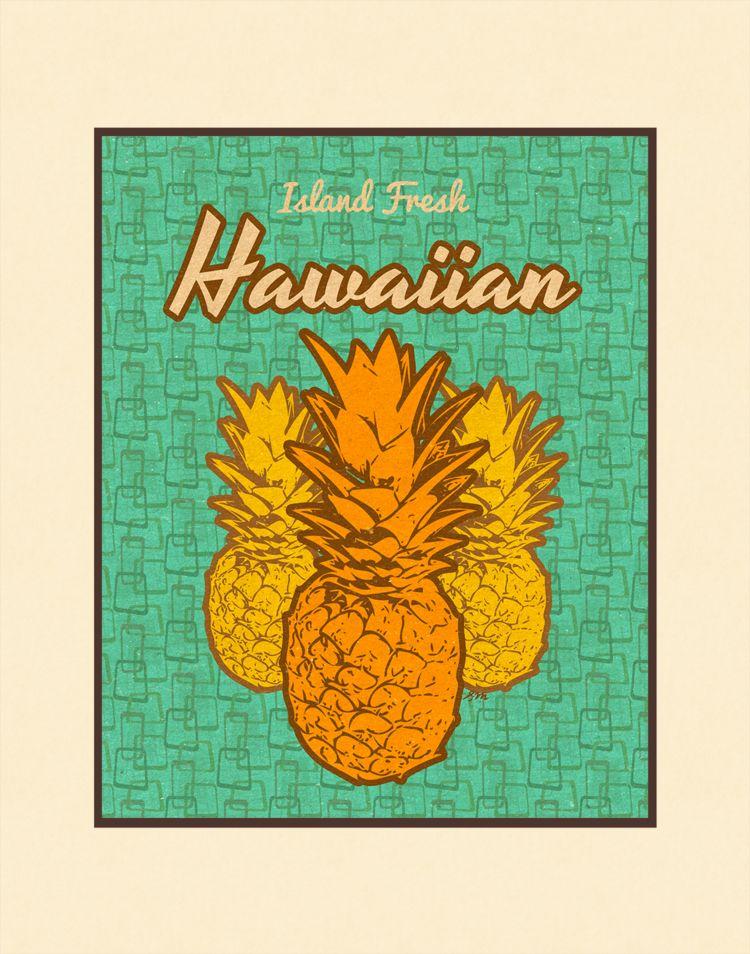Aloha Posters ISLAND FRESH 11X14 MATTED PRINT