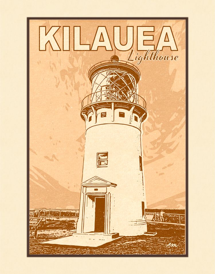 Aloha Posters KILAUEA LIGHTHOUSE, 11X14 MATTED PRINT