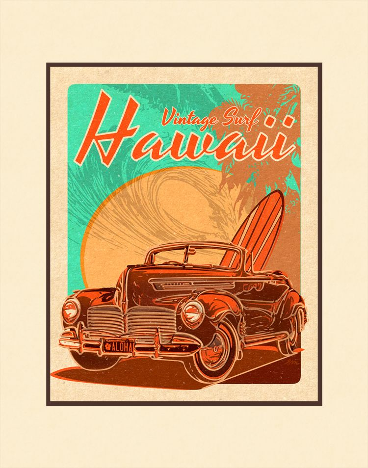 Aloha Posters VINTAGE SURF SOUTH SHORE, 11X14 MATTED PRINT