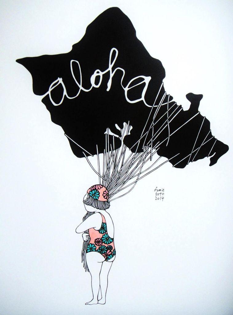 "Kris Goto Aloha Oahu, 11""x14"" Matted Art Print"