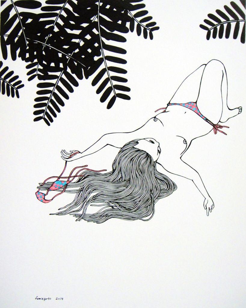 """Kris Goto Bathe, 11""""x14"""" Matted Print"""