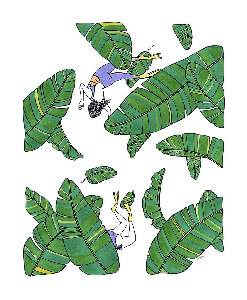 "Kris Goto Leafy, 11""x14"" Matted Print"