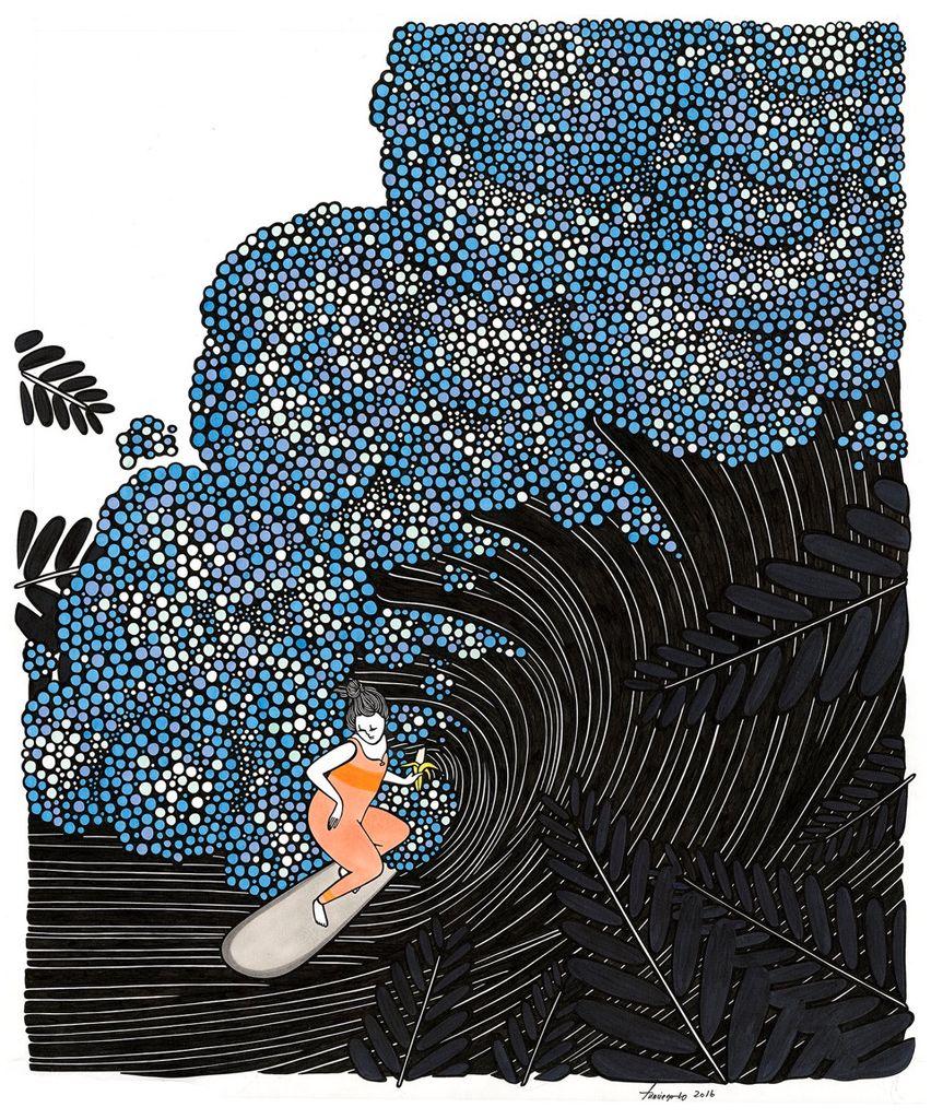 "Kris Goto Banana, 11""x14"" Matted Art Print"