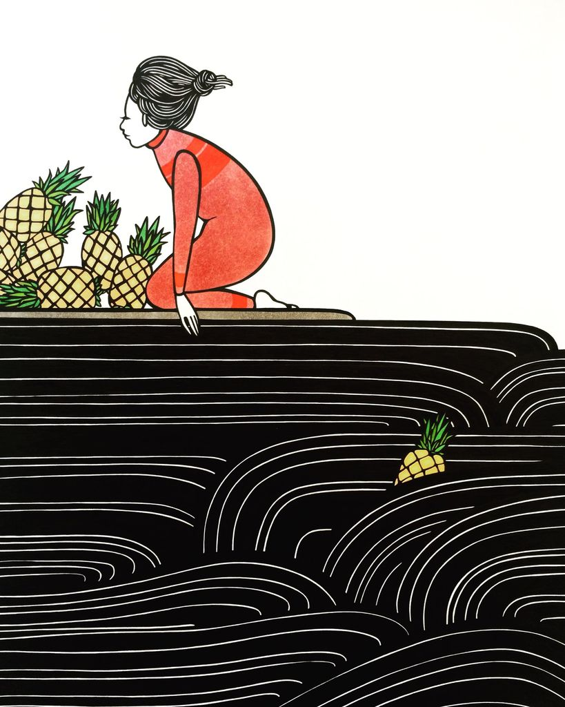 "Kris Goto Pineapples, 11""x14"" Matted Art Print"